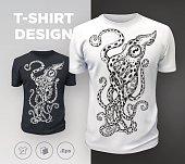 Black modern t-shirt print design with octopus. Vector illustration.