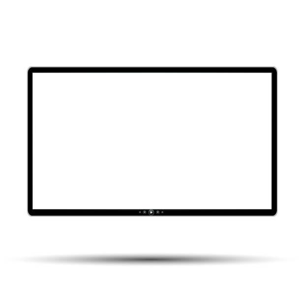 schwarzer monitor mit tasten - lager vektor - bildschirme stock-grafiken, -clipart, -cartoons und -symbole
