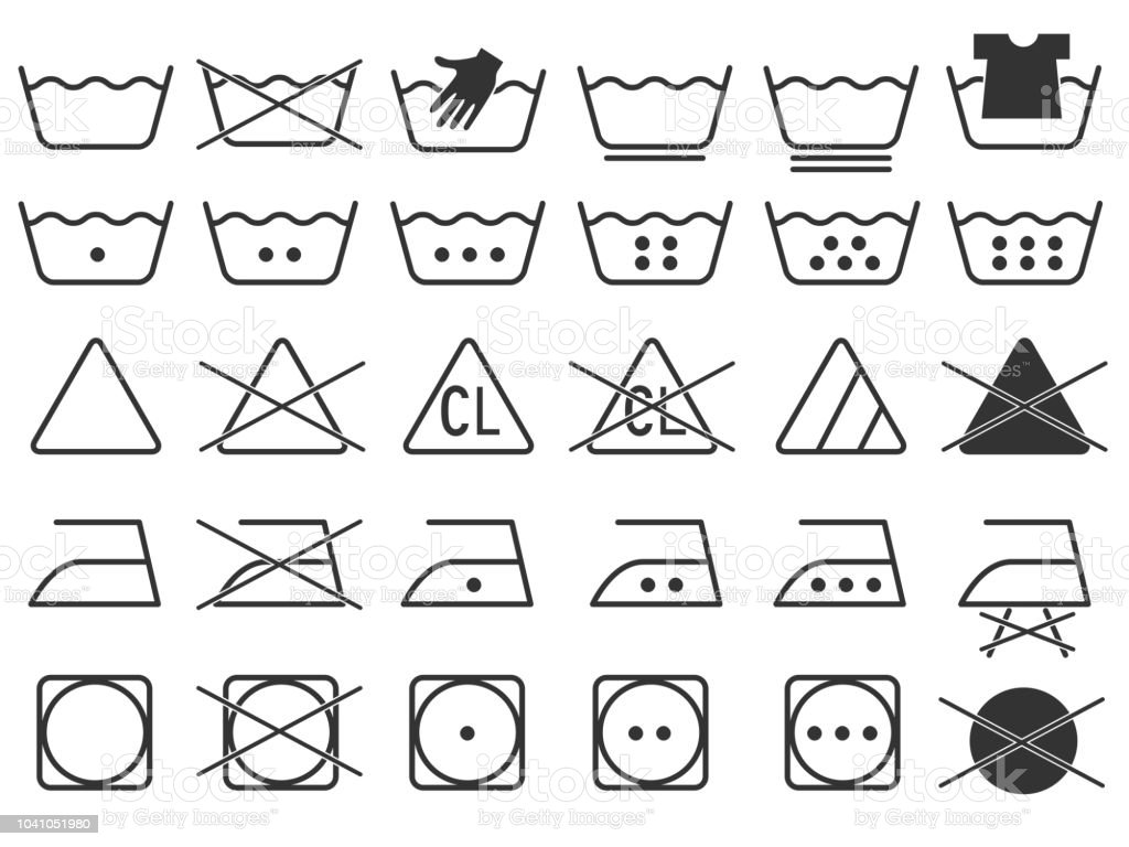 Black Monochrome Simple Laundry Symbols Round Or Curved Style Icons