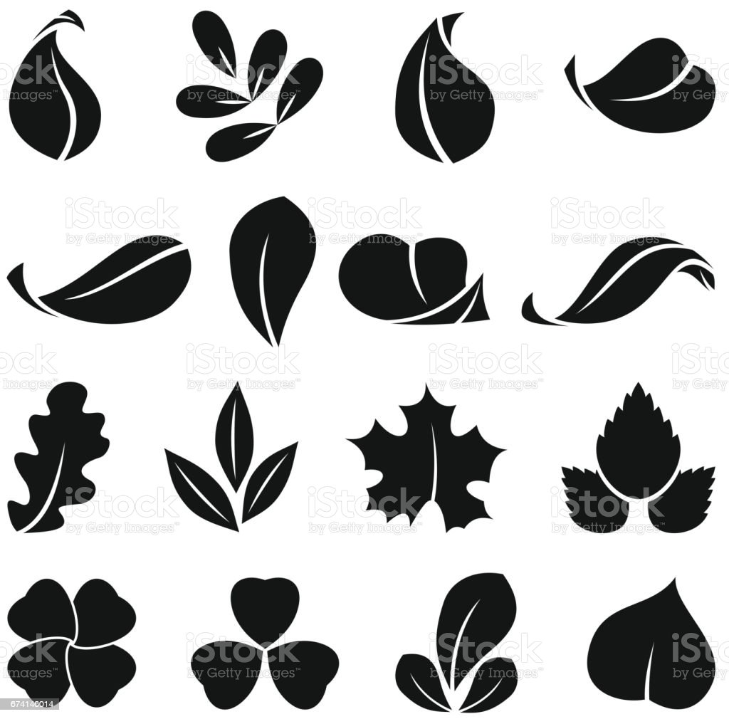 black monochrome symbols of spring leaf vector shapes summer icon set isolate on white background stock illustration download image now istock https www istockphoto com vector black monochrome symbols of spring leaf vector shapes summer icon set isolate on gm674146014 123623517