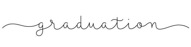 illustrazioni stock, clip art, cartoni animati e icone di tendenza di graduation black monoline calligraphy banner - esame maturità