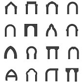 Black monolith vector icons for archway