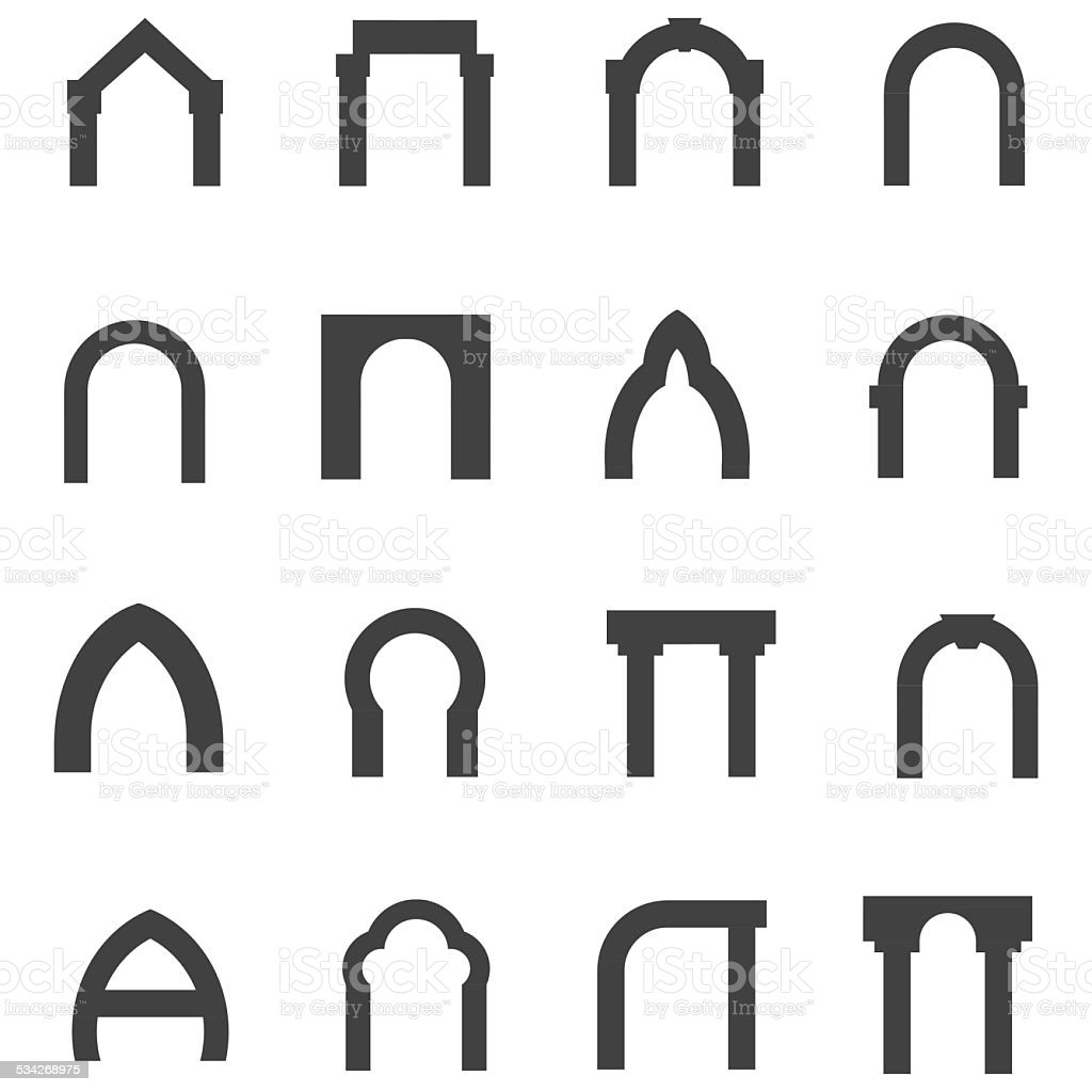 Black monolith vector icons for archway vector art illustration