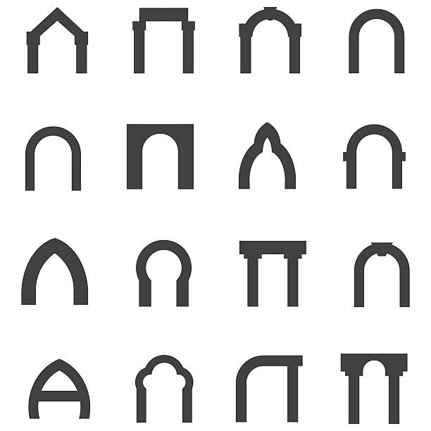 Black monolith vector icons for archway Set of black silhouette monolith vector icons for different types of arch on white background. arch stock illustrations