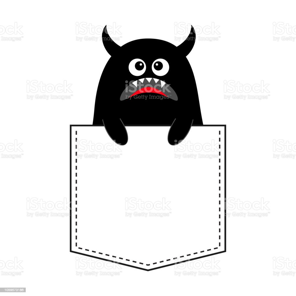 Black Monster Silhouette In The Pocket Holding Hands Cute Cartoon Scary Funny Character