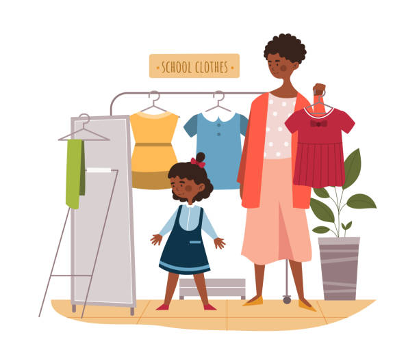 black mother and daughter buying clothes - single mother stock illustrations