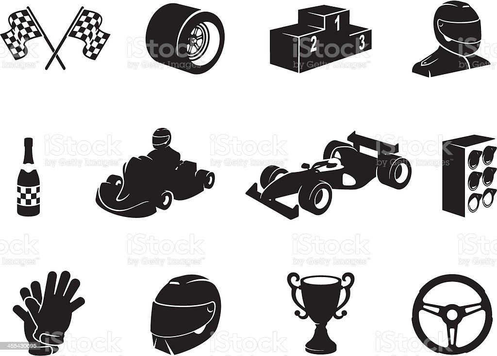 Black Motor Racing Icon Set vector art illustration