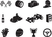 Black Motor Racing Icon Set