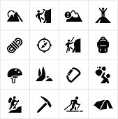 Mountaineering icons. All white strokes/shapes are cut from the icons and merged allowing the background to show through.