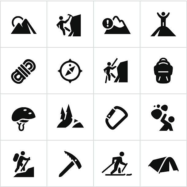 black mountaineering icons - rock climbing stock illustrations, clip art, cartoons, & icons
