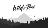 Vector illustration: Black mountains flat landscape background with silhouette of Hawk and hand lettering of Wild and Free.