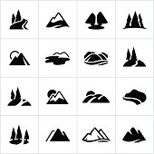 Stylized icons of mountain ranges, hills, bodies of water etc. All white strokes/shapes are cut from the icons and merged allowing the background to show through.