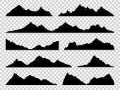 Black mountains silhouettes. Ranges skyline, high mountain hike landscape, alpine peaks. Extreme hiking vector nature border shape drawing hills set