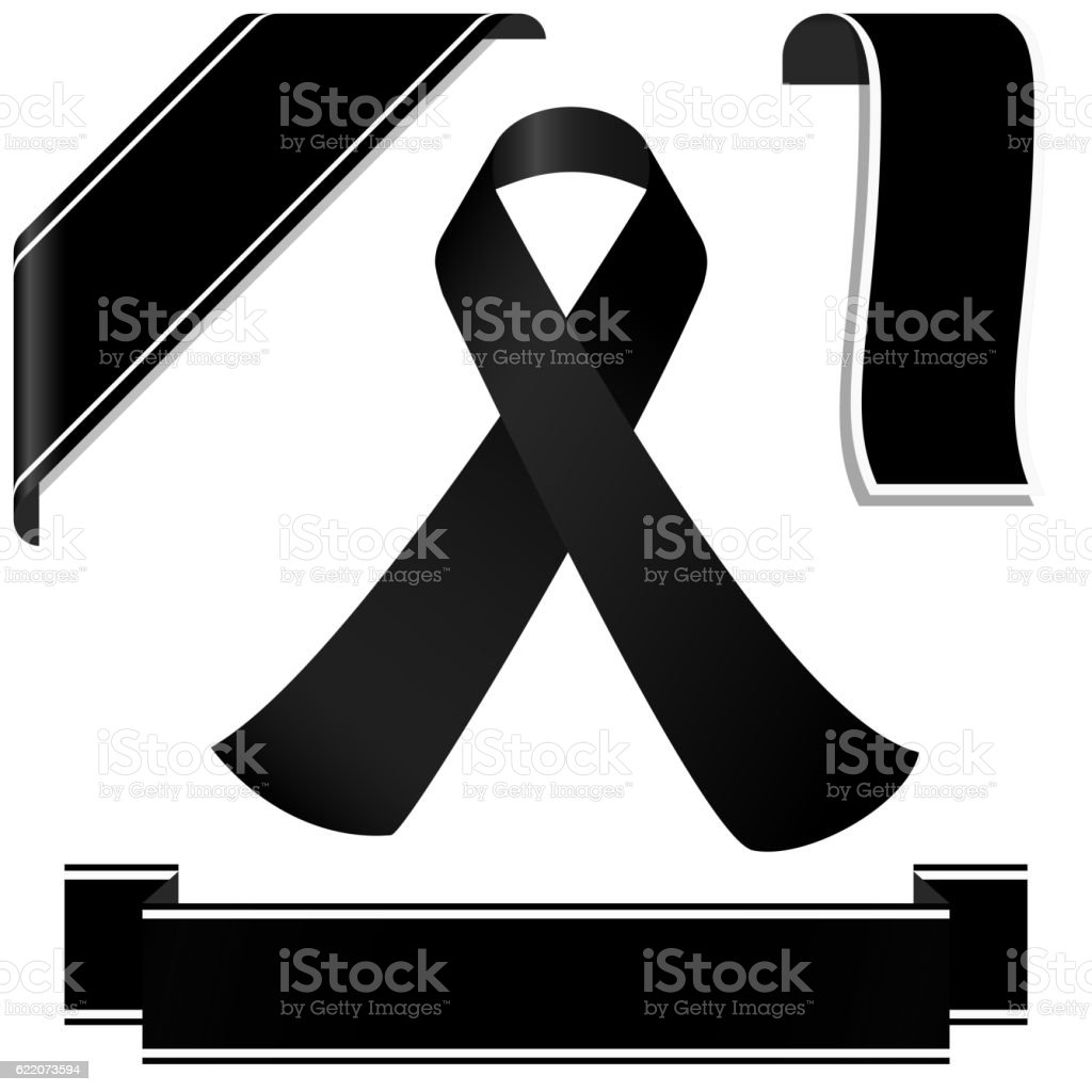 black mourning ribbon and banners stock vector art 622073594 istock
