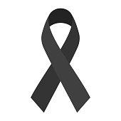 Black mourning ribbon isolated on white background. Flat style vector illustration