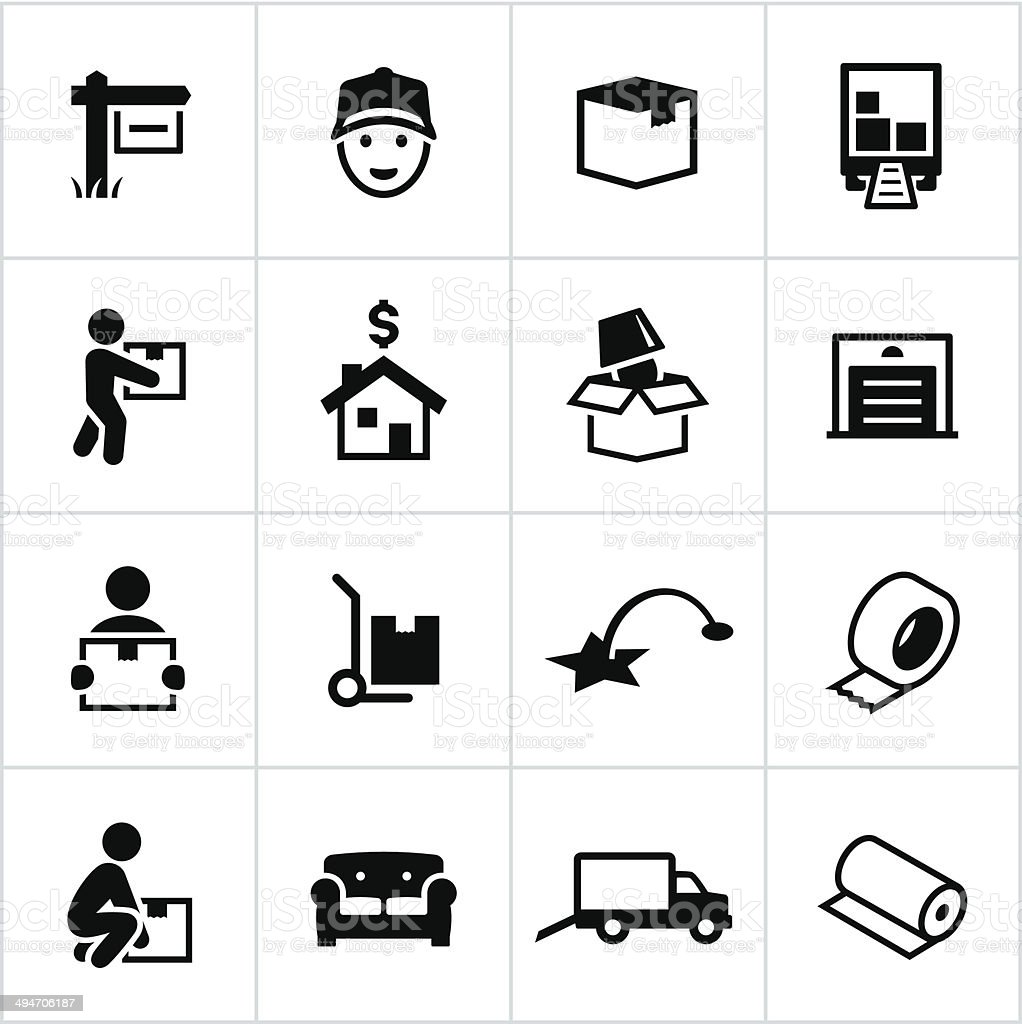 Black Moving Icons vector art illustration