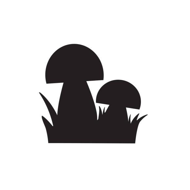 bildbanksillustrationer, clip art samt tecknat material och ikoner med svart svamp ikon - höst plocka svamp