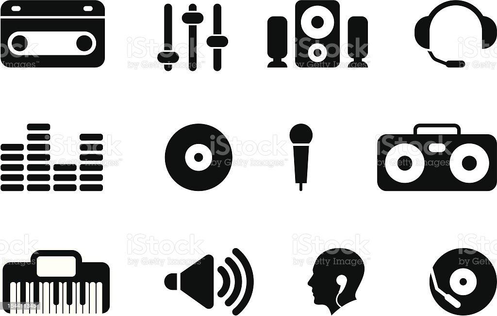 black music icons royalty-free stock vector art