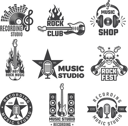 Black music labels. Vintage vinyl cover record microphone and headphones vector symbols for music logotypes or badges records company
