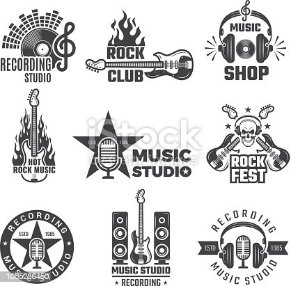 Black music labels. Vintage vinyl cover record microphone and headphones vector symbols for music logotypes or badges records company. Illustration of record musical rock badge