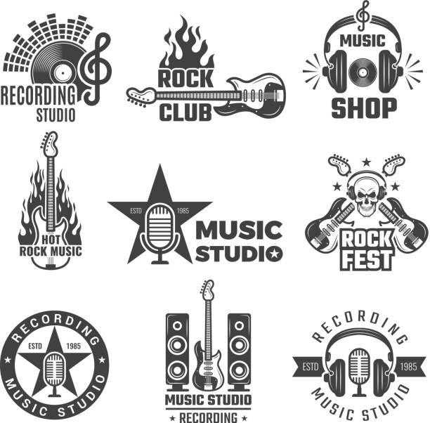 black music labels. vintage vinyl cover record microphone and headphones vector symbols for music logotypes or badges records company - instrument strunowy stock illustrations