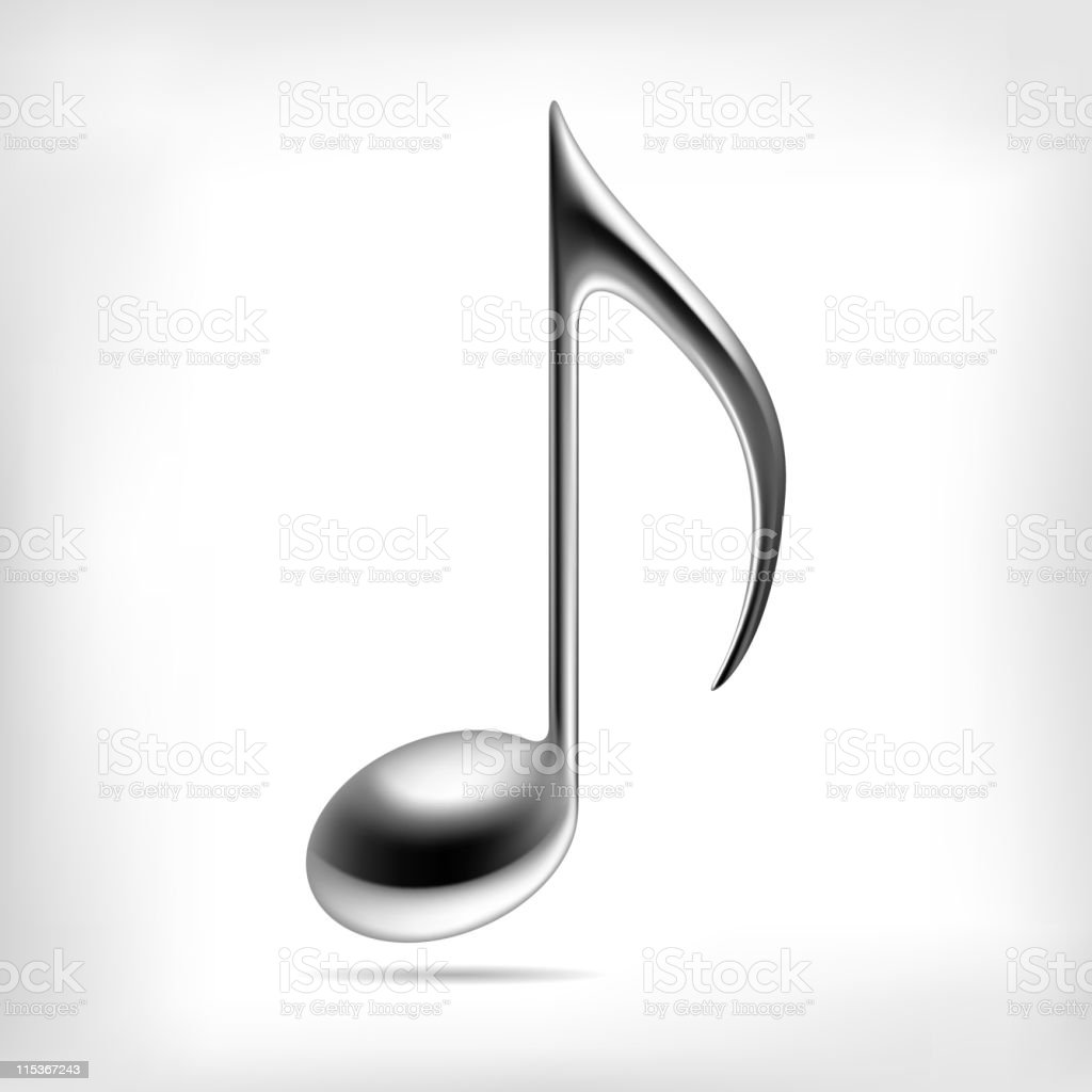 3D black music note on white background with shadow effect  royalty-free stock vector art