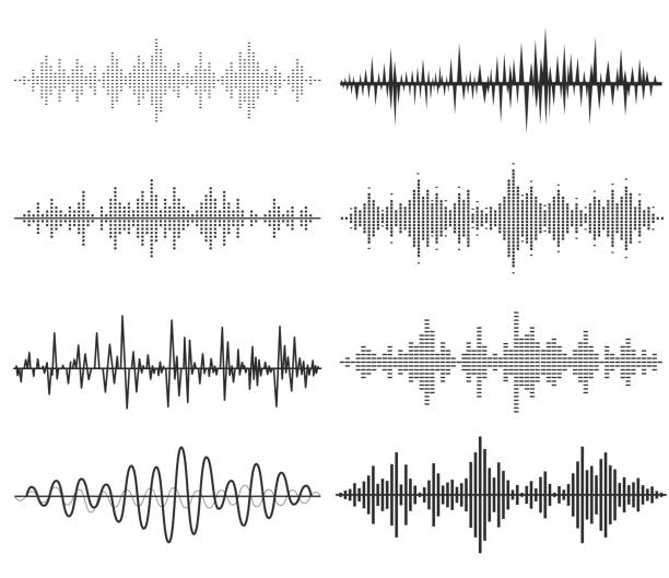 black music sound waves. audio technology, musical pulse. - sound wave stock illustrations, clip art, cartoons, & icons