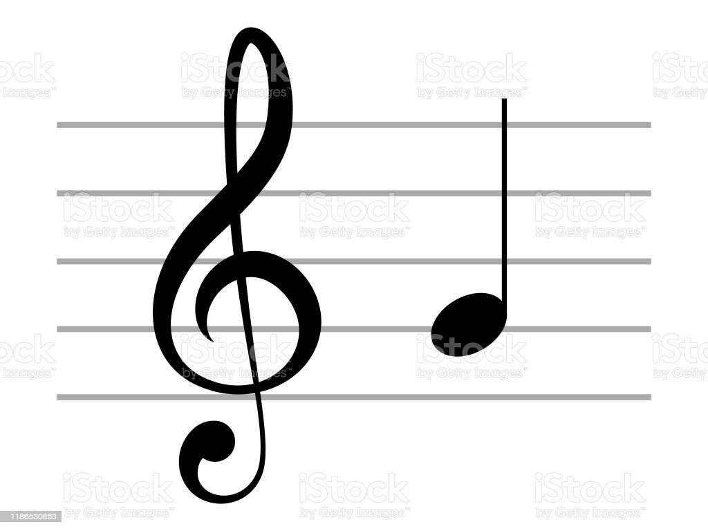 Black Music Treble Clef With Note G Or Sol On Ledger Lines Stock  Illustration - Download Image Now