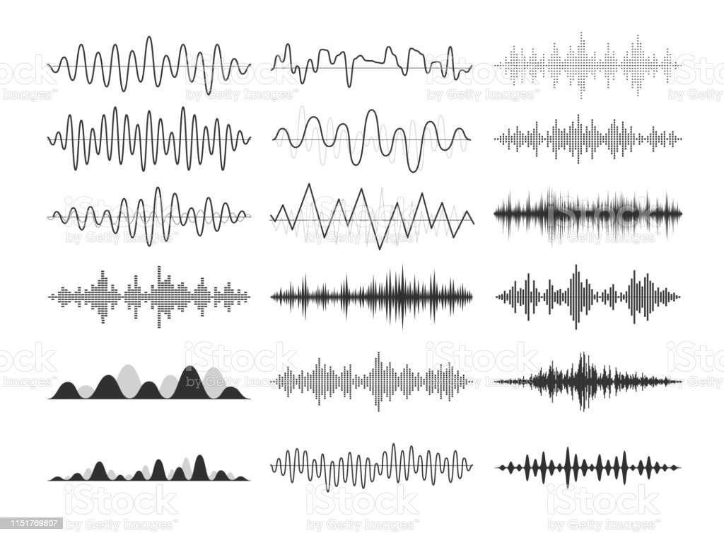 ブラックミュージカルの音波。オーディオ周波数、音楽的インパルス、電子無線信号、電波曲線。 - アナログレコードのロイヤリティフリーベクトルアート