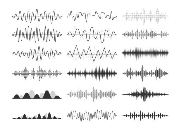 ブラックミュージカルの音波。オーディオ周波数、音楽的インパルス、電子無線信号、電波曲線。 - 音響点のイラスト素材/クリップアート素材/マンガ素材/アイコン素材