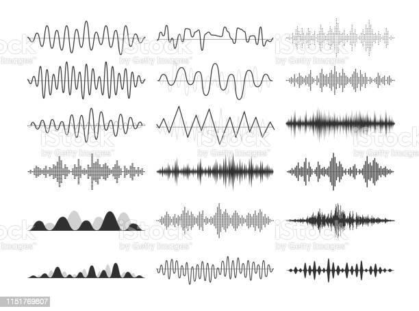 ブラックミュージカルの音波オーディオ周波数音楽的インパルス電子無線信号電波曲線 - アナログレコードのベクターアート素材や画像を多数ご用意