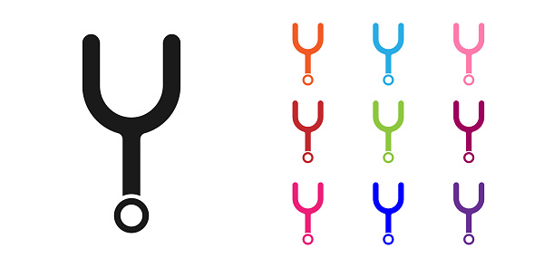 Black Musical tuning fork for tuning musical instruments icon isolated on white background. Set icons colorful. Vector Illustration