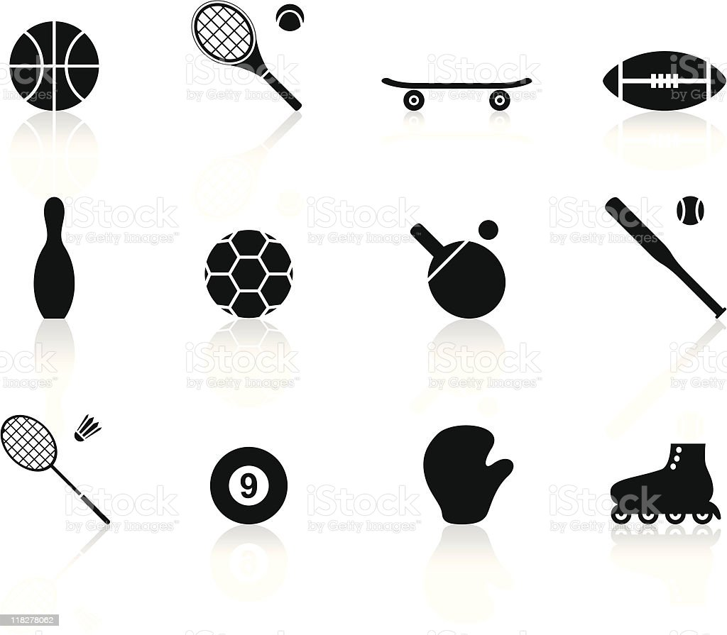 black n white icons - sports royalty-free stock vector art