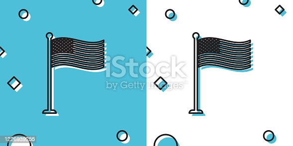 Black National flag of USA on flagpole icon isolated on blue and white background. American flag sign. Random dynamic shapes. Vector Illustration