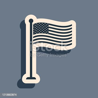 Black National flag of USA on flagpole icon isolated on grey background. American flag sign. Long shadow style. Vector Illustration