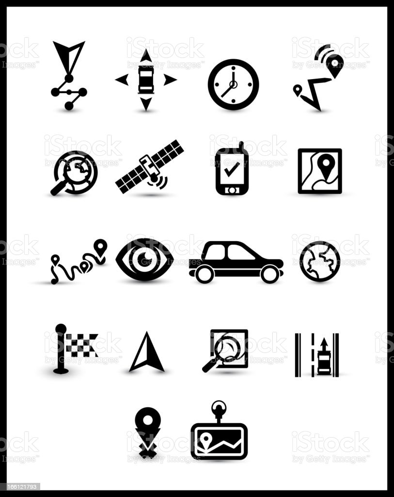Black navigation icons royalty-free stock vector art
