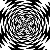 Vector illustration of a black and white psychedelic twisting background.