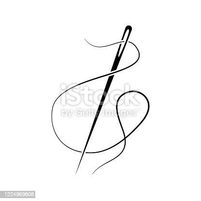 black needle icon, sewing vector