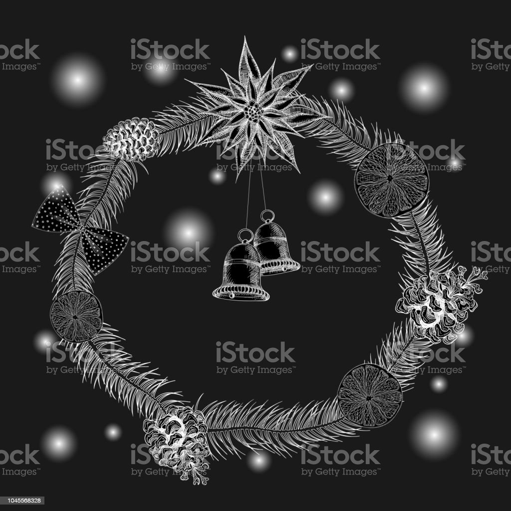 black new year background with shiny christmas wreath royalty free black new year background