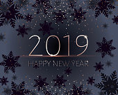 Black New Years banner. Gold 2019 inscription. Happy New Year greeting. Strict mens style. Graphite and black snowflakes and golden confetti.