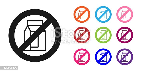 istock Black No pack of milk icon isolated Black background. Not allow milk. Allergy concept, lactose intolerance allergy warning sign. Set icons colorful. Vector 1320806800