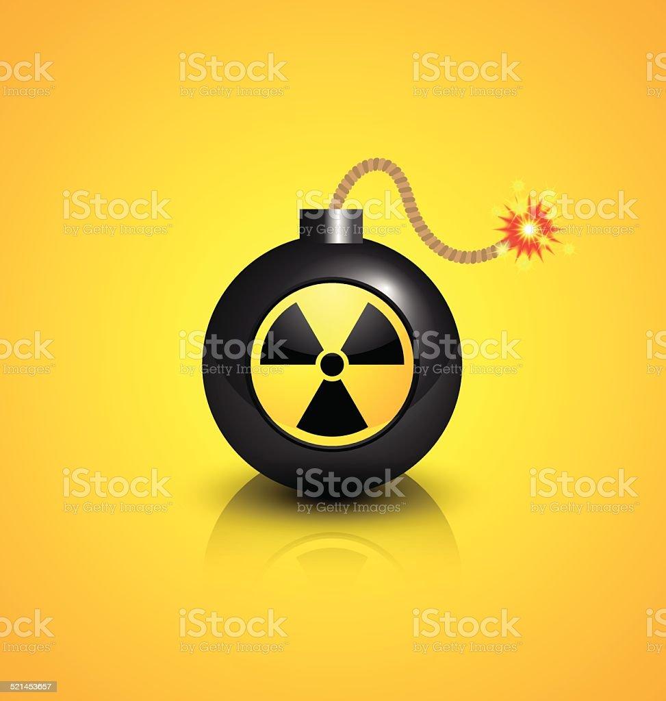 Black nuclear bomb vector art illustration