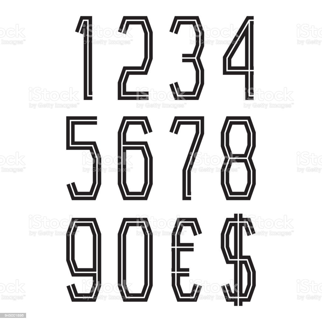 Black Numbers With Currency Signs Of American Dollar And Euro Vector