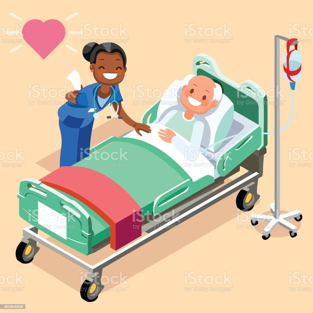 Black Nurse or Family Doctor at Male Patient Bed vector art illustration
