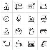 Black contour office icons. All white strokes/shapes are cut from the icons and merged allowing the background to show through.
