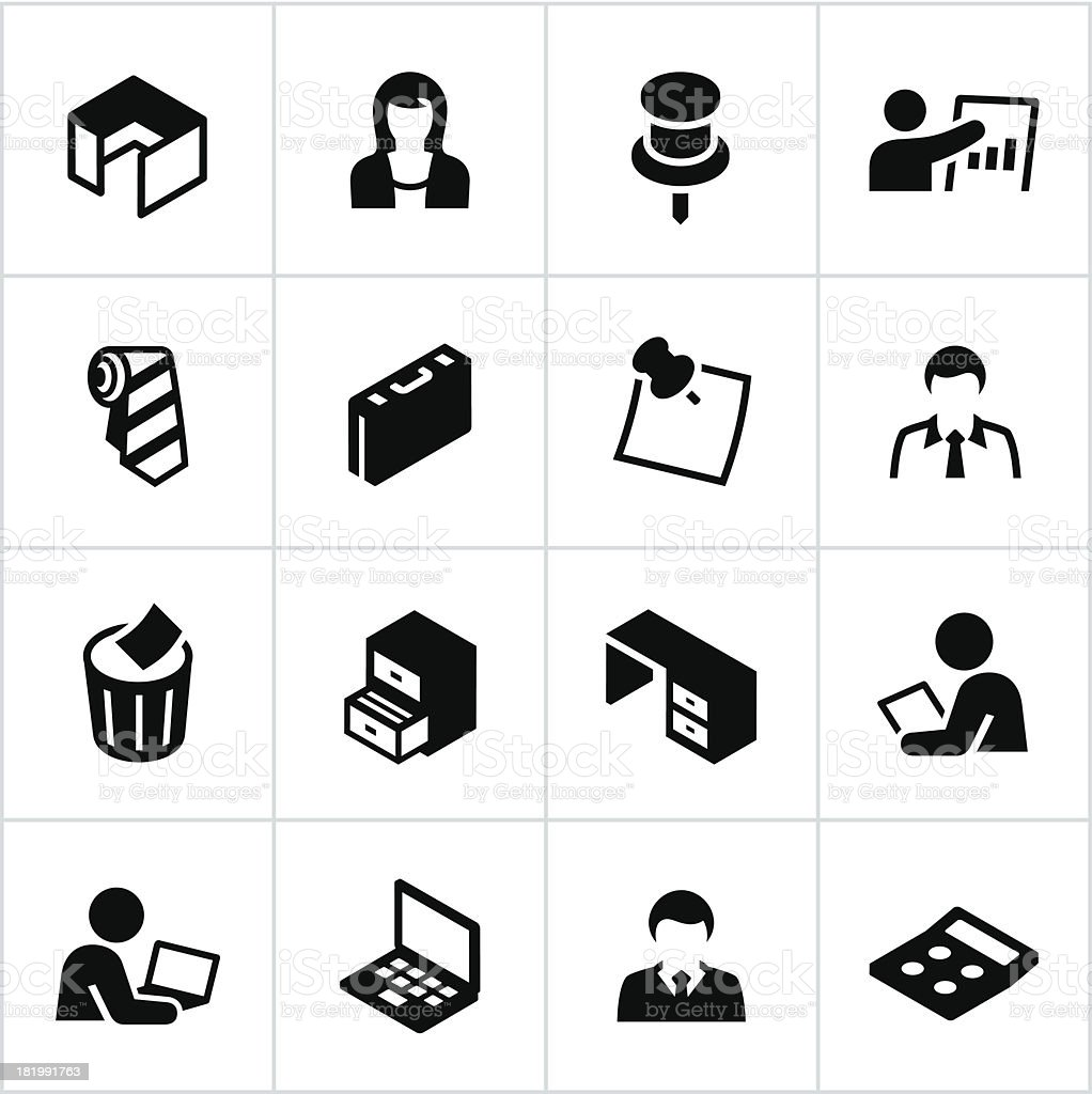 Black Office Icons vector art illustration