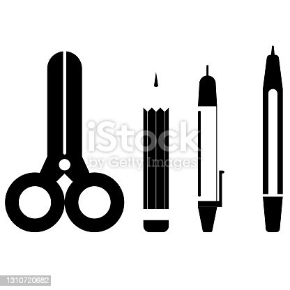 istock black office supplies on white background 1310720682