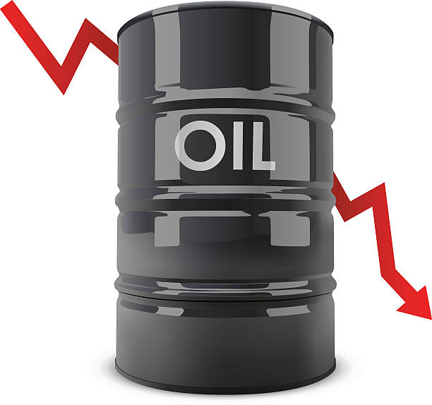 Black oil barrel Black oil barrel with red arrow going down vector illustration. Oil price fall concept. oil drum stock illustrations