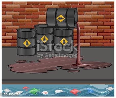 Black oil barrels with crude sign spill oil on the floor on brick background illustration