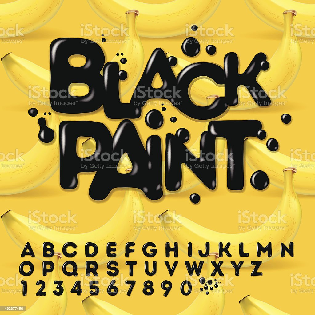 Black oil painted alphabet vector art illustration